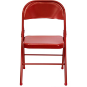 Hercules Hinged Metal Folding Chair - 4-Pack, Red
