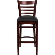 Flash Furniture XU-DGW0005BARLAD-MAH-BLKV-GG Ladder Back Mahogany Wood Bar Stool with Black Vinyl Seat