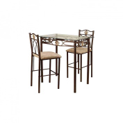 Home Source Industries Three Piece Bistro Table Set in Gold