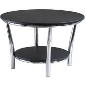 Winsome 93230 Maya Round Coffee Table Black Top Metal Legs