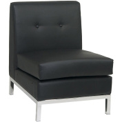 Avenue Six Wall Street Armless Chair, Black Faux Leather