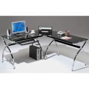 Techni Mobili Hip Black Glass Corner Computer Desk, Black, 150cm W X 140cm D X
