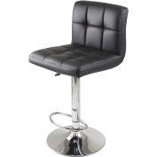 WinsomeTrading 93150 Stockholm Air Lift Stool Swivel Square Grid Faux Leather Seat Black - Black - Metal