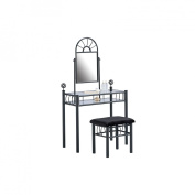 Home Source Industries Vanity and Upholstered Bench Set in Black