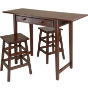Winsome Wood Mercer Double Drop Leaf Table with 2 Stools, Cappuccino