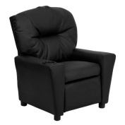 Flash Furniture Kids' Recliner with Cup Holder, Black Leather