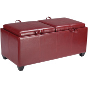 Office Star Products Designs Metro Storage Ottoman with Dual Trays and Seat Cushions, Crimson Red, Faux Leather