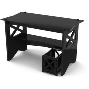Legare Cottage Writing Desk with File Cart, Black and Walnut