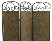 ORE International 3-Panel Room Divider, Antique Gold