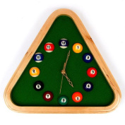 Trademark Global Pool Rack Quartz Clock with Solid Wood Frame