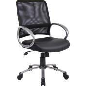 Boss LeatherPlus Executive Chair with Loop Arms, Pewter Finish