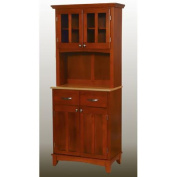 Home Styles Small Buffet with Two Glass Door Hutch, Cottage Oak with Natural Top