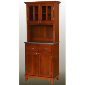 Home Styles Small Buffet with Two Glass Door Hutch, Cottage Oak with Stainless Steel Top