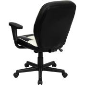 Vinyl Executive Mid-Back Task Chair, Black and Cream