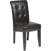 Office Star Products MET88ES Metro Parsons Dining Chair with Button Back - Espresso Eco Leather