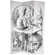 Oriental Furniture 180cm x 120cm Double Sided Alice in Wonderland 3 Panel Room Divider