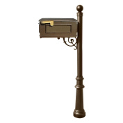 QualArc LM-804-LPST-BZ Lewiston Mailbox with Lewiston post, fluted base and ball finial in Bronze (n