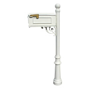QualArc LM-804-LPST-WHT Lewiston Mailbox with Lewiston post, fluted base and ball finial in White (n