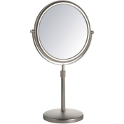 Jerdon 23cm Tabletop 2-Sided Swivel Mirror with 5x Magnification, Adjustable Height, Nickel