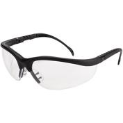 Crews Klondike Safety Glasses, Matte Black Frame, Clear Lens