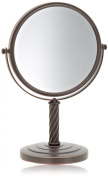 Jerdon 20cm Tabletop 2-Sided Swivel Mirror with 5x Magnification, 33cm Height, Bronze