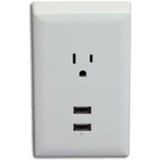 RCA Wall Plate with 2 USB Ports, White