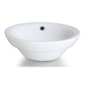 Xylem Semi-Recessed Round Vitreous China Vessel Sink in White