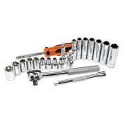 K Tool International KTI21000 21 Piece 1/4 Inch Drive 6 Point SAE Socket Set