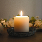 Amber Home Products Blue Moon Glass Pillar Plate Candle Holder