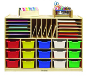 ECR4Kids Birch Multi-Section Storage Cabinet with 15 Scoop Front Bins, Assorted Colours