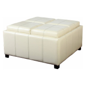 Dartmouth Four Sectioned White Leather Cube Storage Ottoman