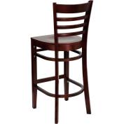 Flash Furniture XU-DGW0005BARLAD-MAH-GG Ladder Back Wood Bar Stool with Mahogany Finish