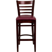 Flash Furniture XU-DGW0005BARLAD-MAH-BURV-GG Ladder Back Mahogany Wood Bar Stool with Burgundy Vinyl Seat