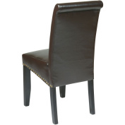 OSPdesigns Dining Chairs Parsons Eco Leather Dining Chair with Nail Head in Espresso Dark brown MET87ES