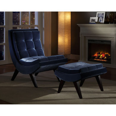 Tufted Occasional Chair and Ottoman, Blue Velvet