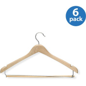 Honey Can Do HNGT01264 6 Pack Contoured Suit Hanger with Locking Bar - Maple