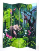 Wayborn Elephant in Jungle 4 Panel Distressed Room Divider