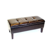 4D Concepts Wood and Fabric Storage Bench