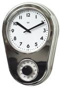 Bai Design Retro Kitchen Timer Wall Clock in Chrome Silver