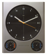 Bai Design Tank Weather Station Wall Clock in Silver
