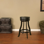 American Heritage Designer Stool in Black with Black Leatherette