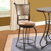 L Powell Bronze with Muted Copper Stamped Back Counter Stool, 24