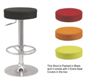 Chintaly Imports 0327-AS Backless Adjustable Stool with 3 Extra Optional Slip Cover Colors
