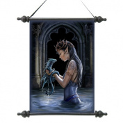 Design Toscano Gothic Water Dragon Canvas Wall Scroll Tapestry