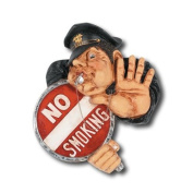 RAM Gameroom Products Hand-Carved No Smoking Officer Sign