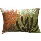 Koko Company Ecco 13'' x 20'' Pillow with Rust / Brown Leaves