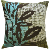 Koko Company Ecco 18'' x 18'' Embroidered Pillow with Brown Leaf