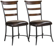Hillsdale Furniture Cameron Ladder Back Dining Chairs, Set of 2, Chestnut Brown Finish