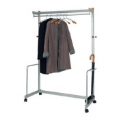ALBA - Lux mobile garment rack - 6 hangers included - Wood & Metal
