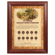 American Coin Treasures 10 Years of Indian Head Pennies Wall Frame